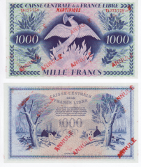 Martinique 1,000 Francs Banknote, 1941, P-22b