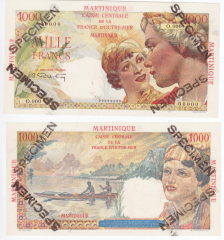 Martinique 1,000 Francs Banknote, 1947, P-33s