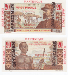 Martinique 20 Francs Banknote, 1947, P-29s