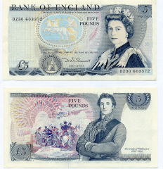 Great Britain/England 5 Pounds Banknote, 1987, P-378e