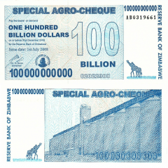 Zimbabwe 100 Billion Dollars Banknote, 2008, P-64