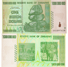 1 Billion Dollars Zimbabwe's Banknote