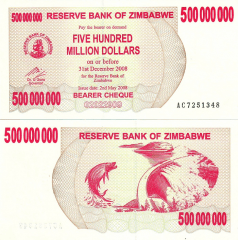 Zimbabwe 500 Million Dollars Banknote, 2008, P-60