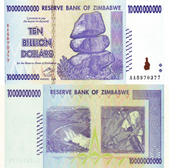 Zimbabwe 10 Billion Dollars Banknote, 2008, P-85