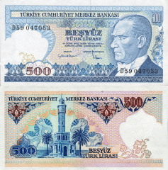 Turkey 500 Lira Banknote, 1983, P-195