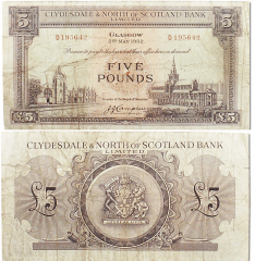 Scotland 5 Pounds Banknote, 1952, P-192a