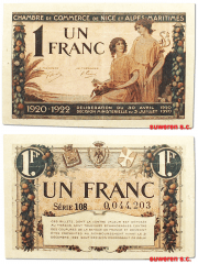 France 1 Franc Banknote, 1922, P-UNLISTED