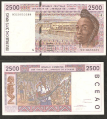 West African States 2,500 Francs Banknote, 1992, P-112Aa