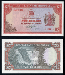 Southern Rhodesia 2 Dollars Banknote, 1976, P-35a