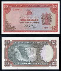 Southern Rhodesia 2 Dollars Banknote, 1977, P-35c