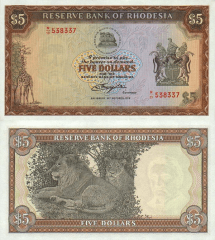 5 Dollars Southern Rhodesia's Banknote