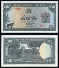 Southern Rhodesia 10 Dollars Banknote, 1976, P-37a