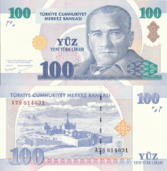 100 New Lira Turkey's Banknote