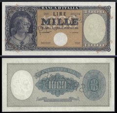 Italy 1,000 Lire Banknote, 1947, P-82s