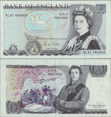 Great Britain/England 5 Pounds Banknote, 1973, P-378