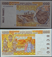 West African States 1,000 Francs Banknote, 1997, P-811Tg