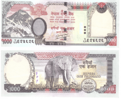 1,000 (1000) Rupees Nepal's Banknote