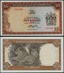 Southern Rhodesia 5 Dollars Banknote, 1976, P-36a