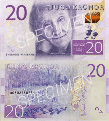 Sweden 20 Kronor Banknote, 2015, P-69s