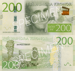 Sweden 200 Kronor Banknote, 2015, P-72s