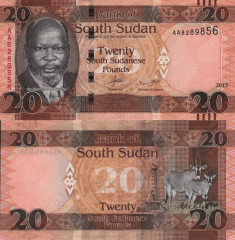 South Sudan 20 Pounds Banknote, 2015, P-13a