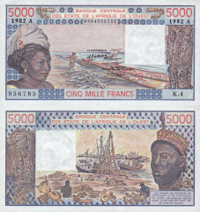 5,000 (5000) Francs West African States's Banknote