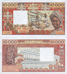 10,000 (10000) Francs West African States's Banknote