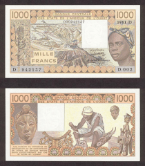 West African States 1,000 Francs Banknote, 1981, P-406Db