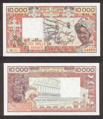 West African States 10,000 Francs Banknote, 1981, P-408Db