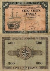 Guadeloupe 500 Francs Banknote, 1942, P-24a