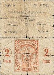 Tangier 2 Francos Banknote, 1941, P-4