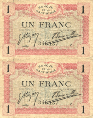 Martinique 1 Franc Banknote, 1915, P-10