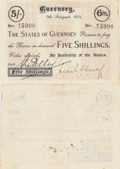 Guernsey 5 Shillings Banknote, 1914, P-3