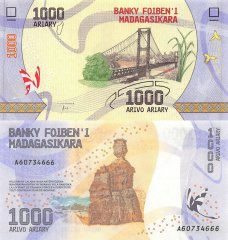Madagascar 1,000 Ariary Banknote, 2017, P-100a