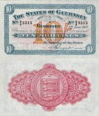 Guernsey 10 Shillings Banknote, 1937, P-15a.2