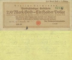 Germany 2,10 Goldmark = ½ Dollar Banknote, 1923, P-S1037