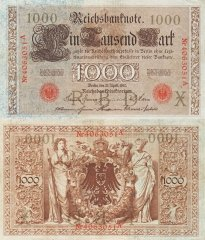 Germany 1,000 Mark Banknote, 1910, P-44b1