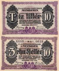 Hungary 10 Filler Banknote, 1916, P-UNLISTED