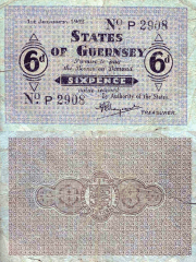 Guernsey 6 Pence Banknote, 1942, P-24