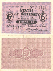 Guernsey 6 Pence Banknote, 1943, P-28