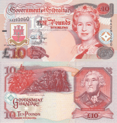 10 Pounds Gibraltar's Banknote