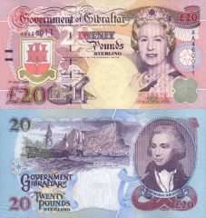 20 Pounds Gibraltar's Banknote