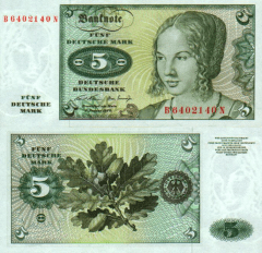 Germany/Federal Republic 5 Deutsche Mark Banknote, 1970, P-30a