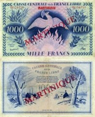Martinique 1,000 Francs Banknote, 1944, P-22c