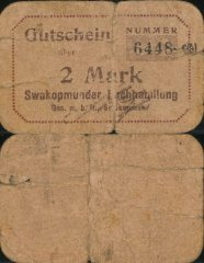 2 Mark German South West Africa's Banknote