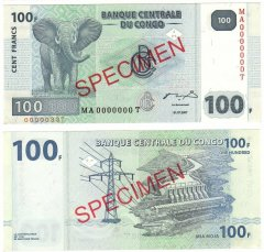 100 Francs Congo Democratic Republic's Banknote