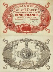 Guadeloupe 5 Francs Banknote, 1934, P-7c.2