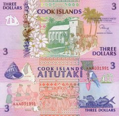 Cook Islands 3 Dollars Banknote, 1992, P-7a