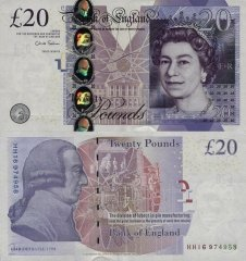 Great Britain/England 20 Pounds Banknote, 2012, P-392b