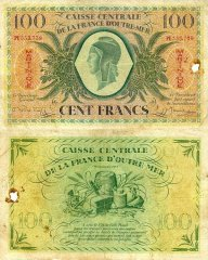 Martinique 100 Francs Banknote, 1944, P-25